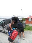 Loading our bags into Marco's dad's van in Chaiten, Photo by Ben Robson